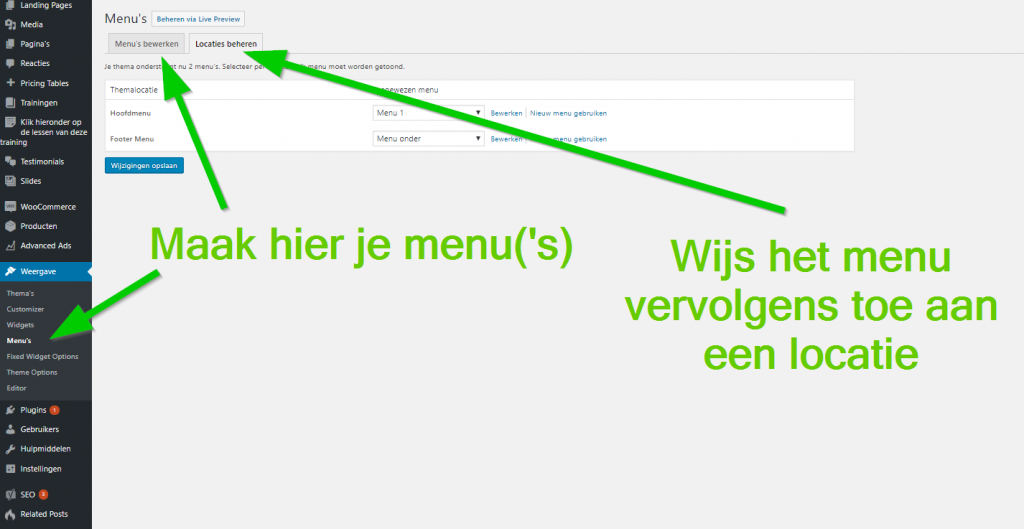 Menu maken in WordPress