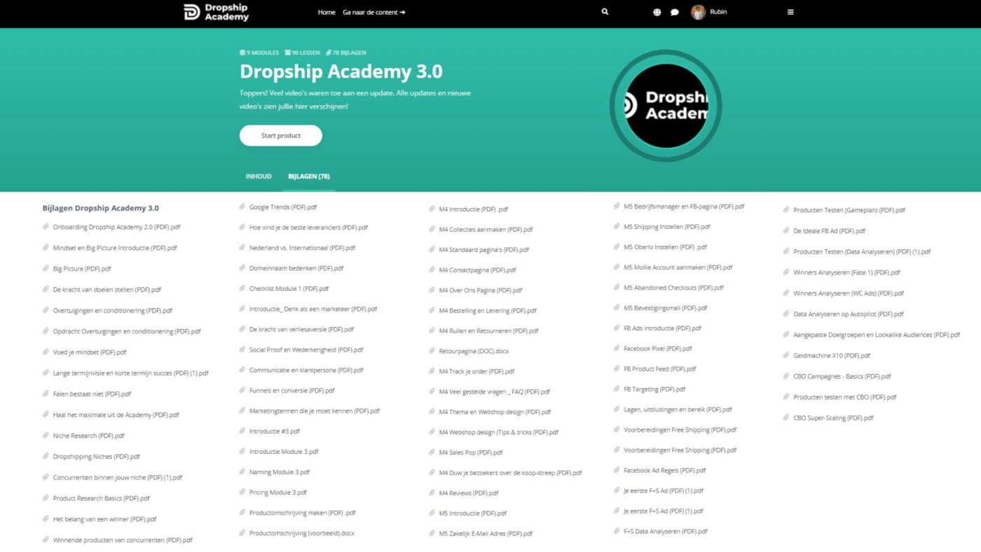 dropship academy heel veel materiaal