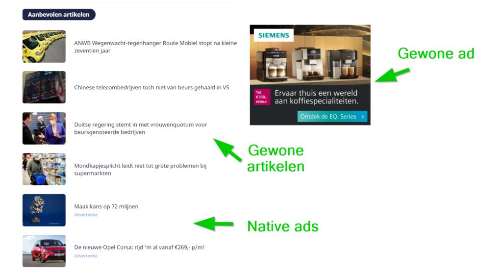 native advertising voorbeeld