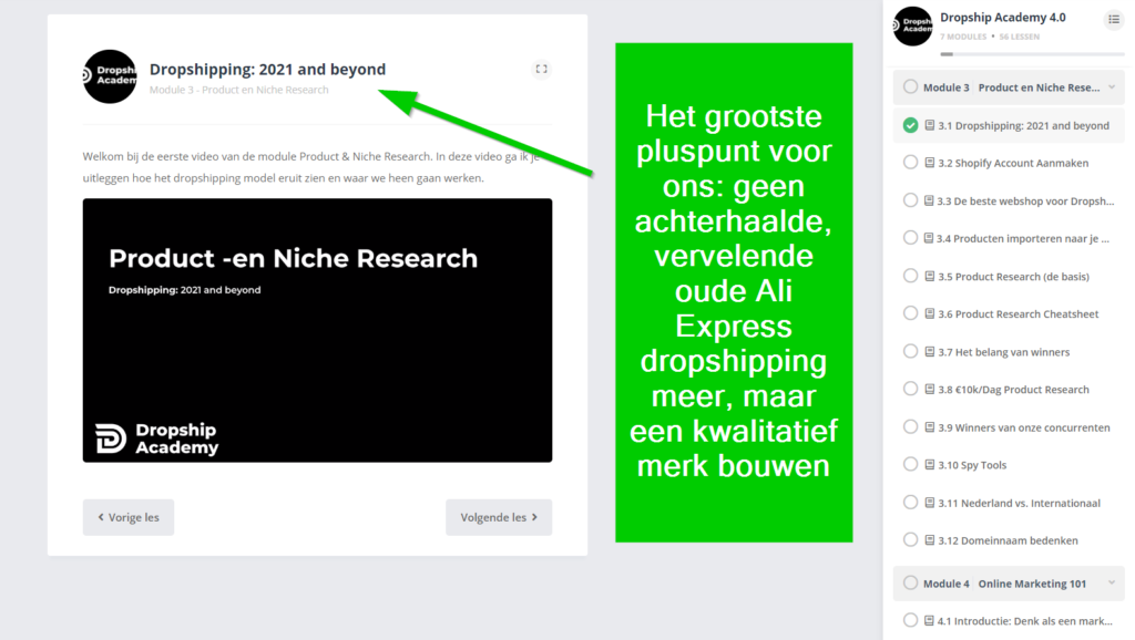 dropship academy 4.0 is zonder ali express